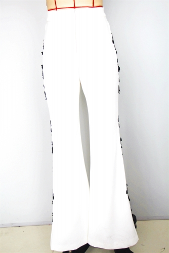 2019 new white  woven wide pant with tirm on side