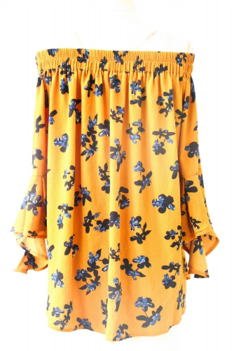 Yellow printing top with pattern
