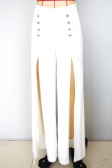 2019 new white woven wide pant with detail