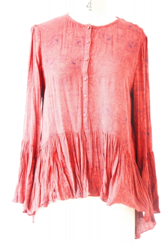 Red ruffled  printing top