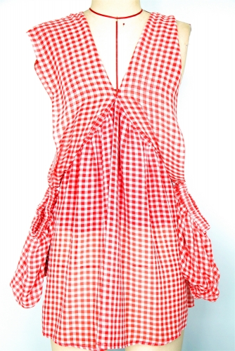 Plaid  woven full dress with short-sleeved