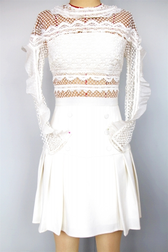 2019 new white lace full/evening  dress