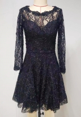 lace long sleeve dress in sequin and beads lace fabric