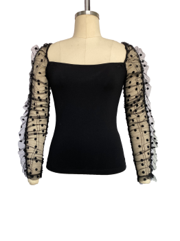 French vintage see-through top with puffed sleeves