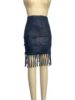 Personalised leather fringed skirt with hip wrap