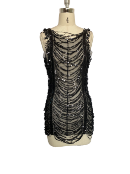 Slim cut waist sequined lace back jacket dress