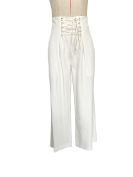 Casual trousers with drawstring straps
