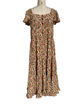 Temperamental square collar floral dress