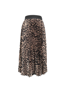 Fashion versatile pleated leopard skirt
